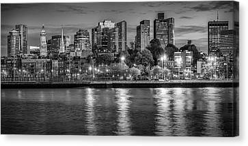 Custom House Tower Canvas Print - Boston Evening Skyline  - Monochrome Panorama by Melanie Viola