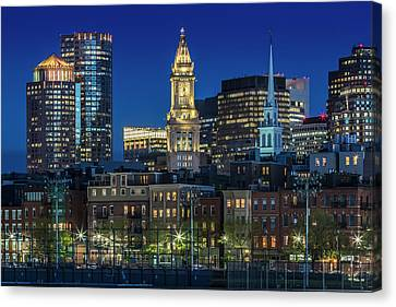 Custom House Tower Canvas Print - Boston Evening Skyline Of North End And Financial District by Melanie Viola
