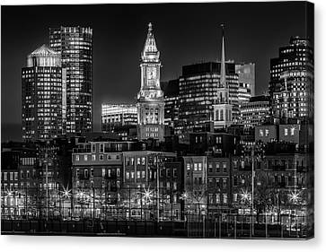 Custom House Tower Canvas Print - Boston Evening Skyline Of North End And Financial District - Monochrome by Melanie Viola
