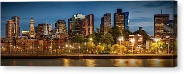 Custom House Tower Canvas Print - Boston Evening Skyline Of North End And Financial District - Panoramic by Melanie Viola