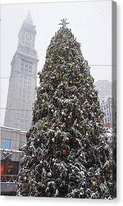 Boston Faneuil Christmas Tree Snow Covered With Custom House Overhead Canvas Print by Toby McGuire