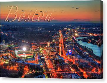 Boston Fenway Park Charles River Sunset Aerial View  Canvas Print