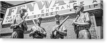 Ballpark Canvas Print - Boston Fenway Park Sign And Four Bronze Statues by Paul Velgos