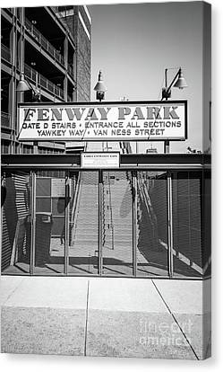 Ballpark Canvas Print - Boston Fenway Park Sign Black And White Photo by Paul Velgos