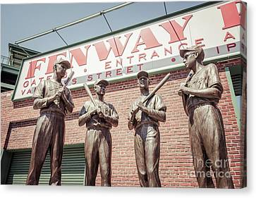 Boston Fenway Park Sign Gate B Statues Canvas Print by Paul Velgos