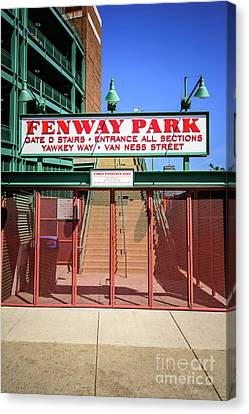 Ballpark Canvas Print - Boston Fenway Park Sign Gate D Entrance by Paul Velgos