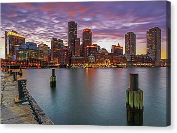 Boston Harbor And Financial Waterfront District Skyline Canvas Print by Juergen Roth