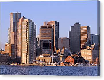 Custom House Tower Canvas Print - Boston Harbor And New England Aquarium by Juergen Roth