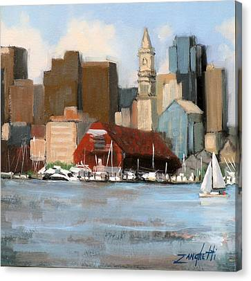 Boston Harbor Canvas Print by Laura Lee Zanghetti