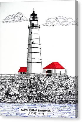 Boston Harbor Lighthouse Dwg Canvas Print by Frederic Kohli