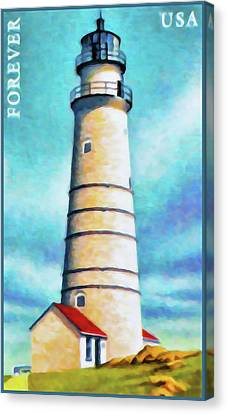 Boston Harbor Ma Lighthouse Canvas Print by Lanjee Chee