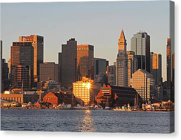 Custom House Tower Canvas Print - Boston Harbor Morning Bliss by Juergen Roth