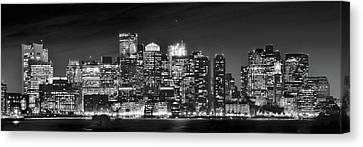 Boston Harbor Panorama In Black And White Canvas Print