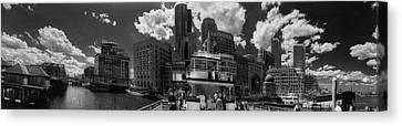 Boston Harbor Panoramic In Black And White Canvas Print