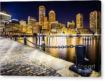 Boston Harbor Skyline At Night Picture Canvas Print by Paul Velgos