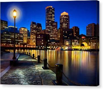 Boston Harbor Skyline Painting Of Boston Massachusetts Canvas Print