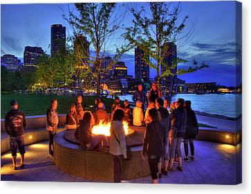 Boston Harbor Sunset Bonfire Canvas Print by Joann Vitali