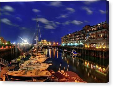 Boston Long Wharf At Night Canvas Print by Joann Vitali