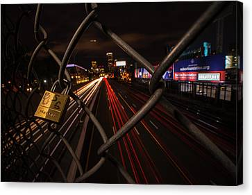 Boston Love Lock Overlooking The Mass Pike Bu Boston Ma Canvas Print by Toby McGuire