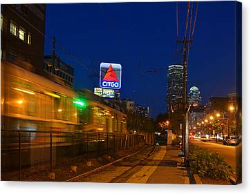 Boston Ma Green Line Train On The Move Canvas Print by Toby McGuire