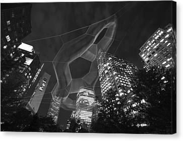 Boston Ma Rose Kennedy Greenway Black And White Canvas Print