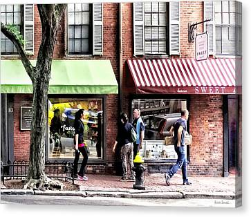 Boston Ma - Street With Candy Store And Bakery Canvas Print by Susan Savad