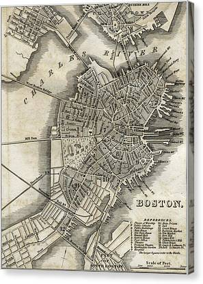 Boston Map Of 1842 Canvas Print by George Pedro