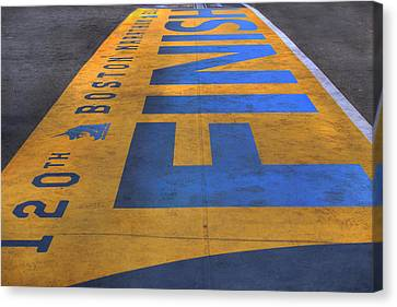 Boston Marathon Finish Line Canvas Print by Joann Vitali