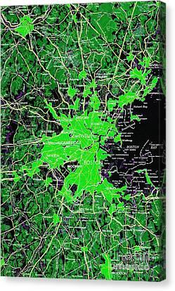 Boston Massachusetts 1948 Green Map Canvas Print