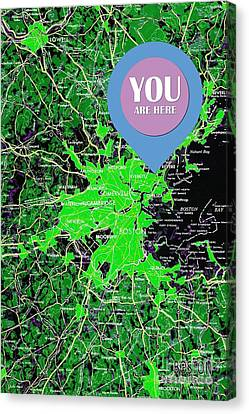 Boston Massachusetts 1948 Green Map You Are Here Canvas Print