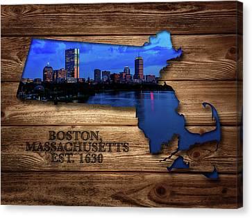 Boston Ma Canvas Print - Boston Massachusetts State Map by Rick Berk
