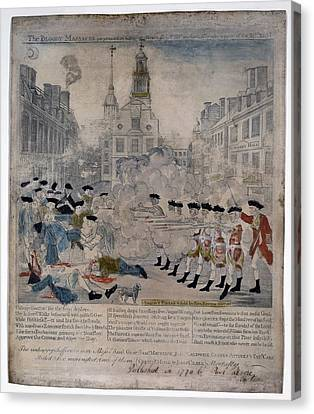 Boston Massacre.  British Troops Shoot Canvas Print by Everett