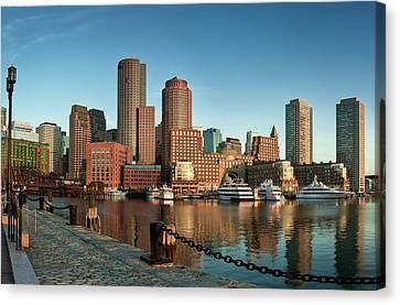 Boston Morning Skyline Canvas Print by Sebastian Schlueter (sibbiblue)