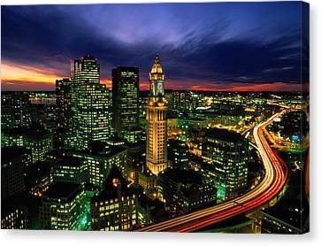 Boston Night Aerial With Time Exposure Canvas Print by Joel Sartore