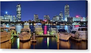 Boston Night Panoramic View Canvas Print by Frozen in Time Fine Art Photography