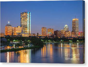 Boston Night Skyline II Canvas Print by Clarence Holmes