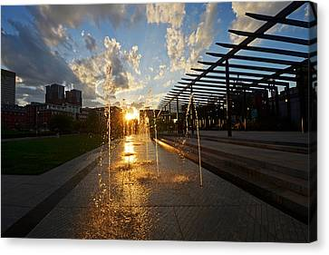 Boston North End Park Fountains Sunset Canvas Print by Toby McGuire