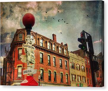 Boston North End - Italian Street Signs Canvas Print by Joann Vitali