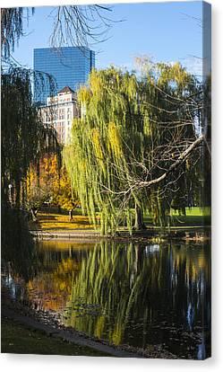 Boston Public Garden Autumn Hancock Skyline Canvas Print