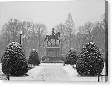Boston Public Garden Boston Ma Winter Snow Black And White Canvas Print by Toby McGuire
