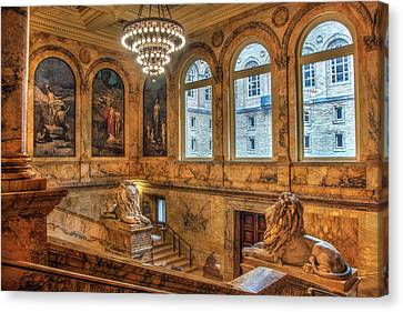 Canvas Print featuring the photograph Boston Public Library Architecture by Joann Vitali