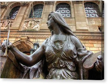 Canvas Print featuring the photograph Boston Public Library Lady Sculpture by Joann Vitali