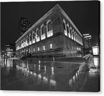 Boston Public Library Rainy Night Boston Ma Black And White Canvas Print by Toby McGuire