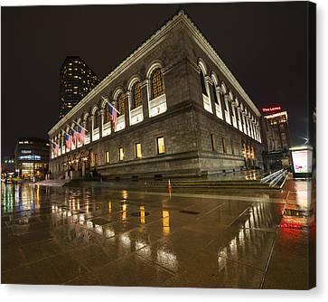 Boston Public Library Rainy Night Boston Ma Canvas Print by Toby McGuire