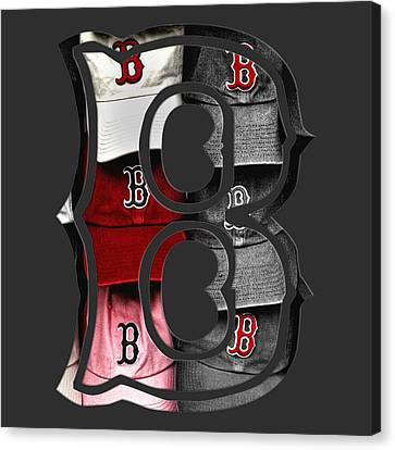 Boston Red Sox B Logo Canvas Print by Joann Vitali