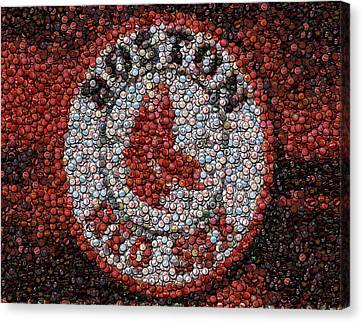 Boston Red Sox Bottle Cap Mosaic Canvas Print by Paul Van Scott