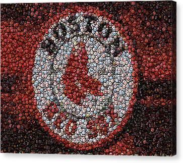 Boston Red Sox Bottle Cap Mosaic Canvas Print by Paul Van Scott