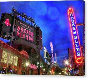 Boston Red Sox Fenway Park At Night  Canvas Print by Joann Vitali