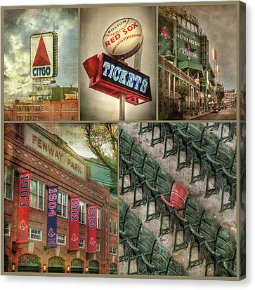 Canvas Print featuring the photograph Boston Red Sox Fenway Park Collage by Joann Vitali
