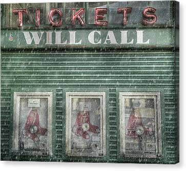 Canvas Print featuring the photograph Boston Red Sox Fenway Park Ticket Booth In Winter by Joann Vitali